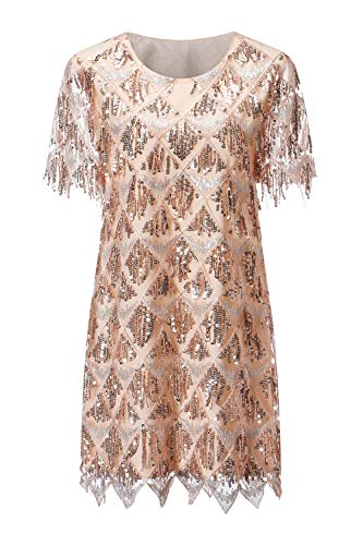 VVMCURVE Women's Sequin Fringe 1920 Short Prom Dress Sequins Art Deco Cocktail Gatsby Party Dress with Short Sleeve (Small, Pink-Rose Gold)