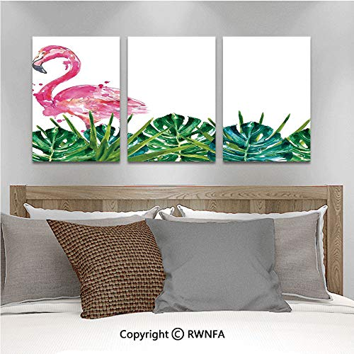3Pc Creative Wall Stickers Exotic Nature Botanical Artwork with Leaves and Flamingo Watercolors Artwork Bedroom Kids Room Nursery Dinning Wall Decals Removable Art Murals,19.7
