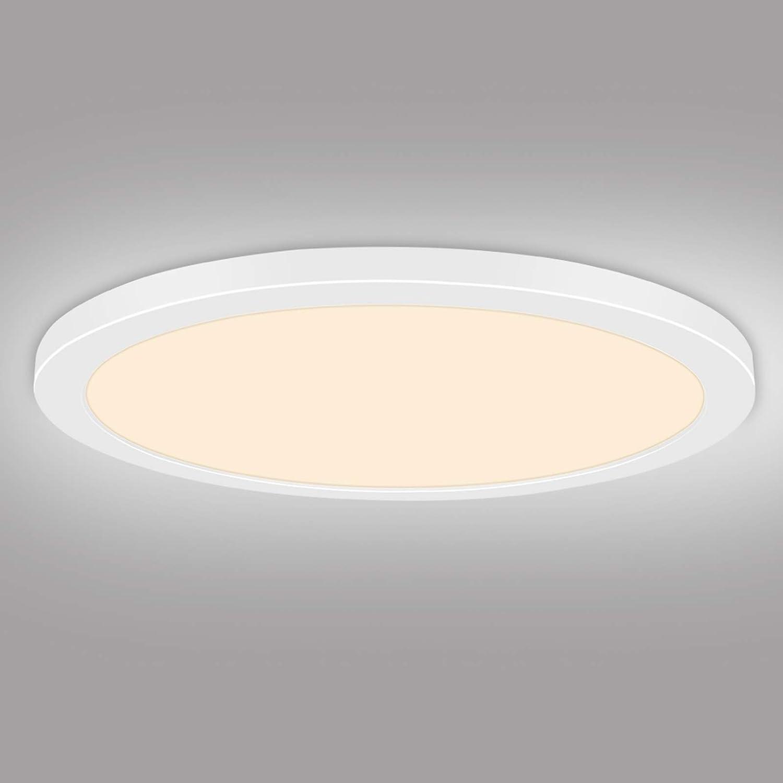 Arbrac LED Ceiling Light Flush Mount Fixture 24w, 12 in Beadroom Light Fixtures Ceiling, 3000K Ceiling Lamp for Kitchen Office, Ultra Thin 1.5cm