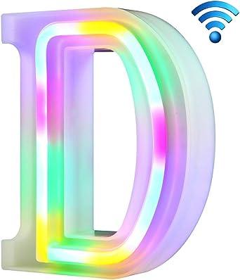 R, sin control remoto Coloridas luces de ne/ón con letras 26 letras iluminadas para la fiesta de cumplea/ños de la boda L/ámpara de Navidad con bater/ía Home Bar Decoraci/ón del dormitorio