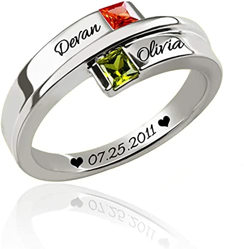 Noonan Personalized Promised Ring Name Jewelry with 2 Heart Simulated Birthstone for Lovers Gift