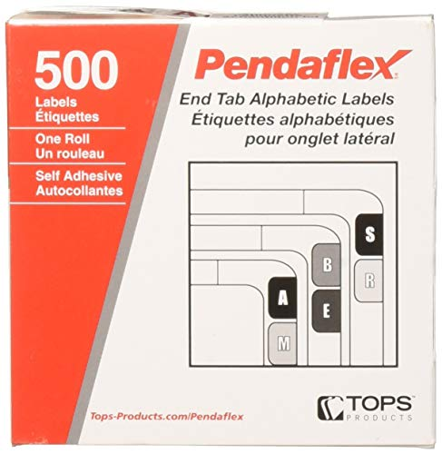 (Pendaflex A-Z Color Coded Bar Style End Tab Filing Labels, Red, Letter A, 500 Per Roll (03801))