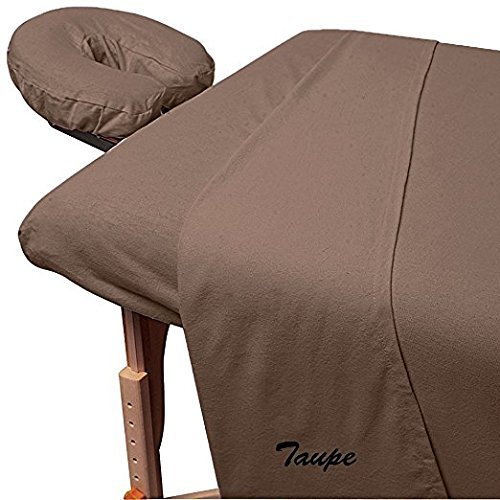 LaxLinen 600 Thread-Count 3-Piece Massage Table Spa Sheet Set (1Pc Fitted Sheet Fit up to 7'' Inch Deep Pocket, 1Pc Flat Sheet & 1Pc Fitted Face Rest Cover) 100% Egyptian Cotton (Taupe) by LaxLinen (Image #4)