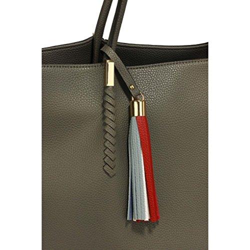 454 Bag Tote Shoulder Women's Size Handbags Nice Leahward Grey With Quality Large Tassel Ladies Bags Designer Charm US7wxpq