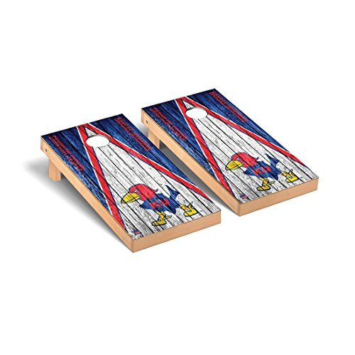 - Victory Tailgate College Vault Kansas KU Jayhawks Desktop Cornhole Game Set Weathered Triangle Version