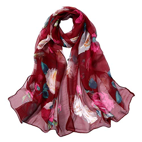 Clearance Chaofanjiancai Fashion Women's Little Cat Print Long Soft Wrap Scarf Shawl Scarf Casual Scarves (160x50cm, Wine Red) ()