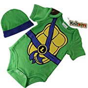 Knitwits  Teeny Mutant Ninja Toddlers  Onesie and Hat Bundle Outfit (0-3 Months, Blue)