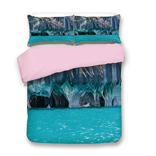 Pink Duvet Cover Set,Twin Size,Marble Caves of Lake General Carrera Chile South American Natural,Decorative 3 Piece Bedding Set with 2 Pillow Sham,Best Gift For Girls Women,Turquoise Purplegrey ()