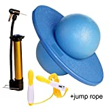 GreenMoon Pogo Ball with Large Pump Lolo Ball with Gift Bag and Instruction (Blue)(with Jump Rope)