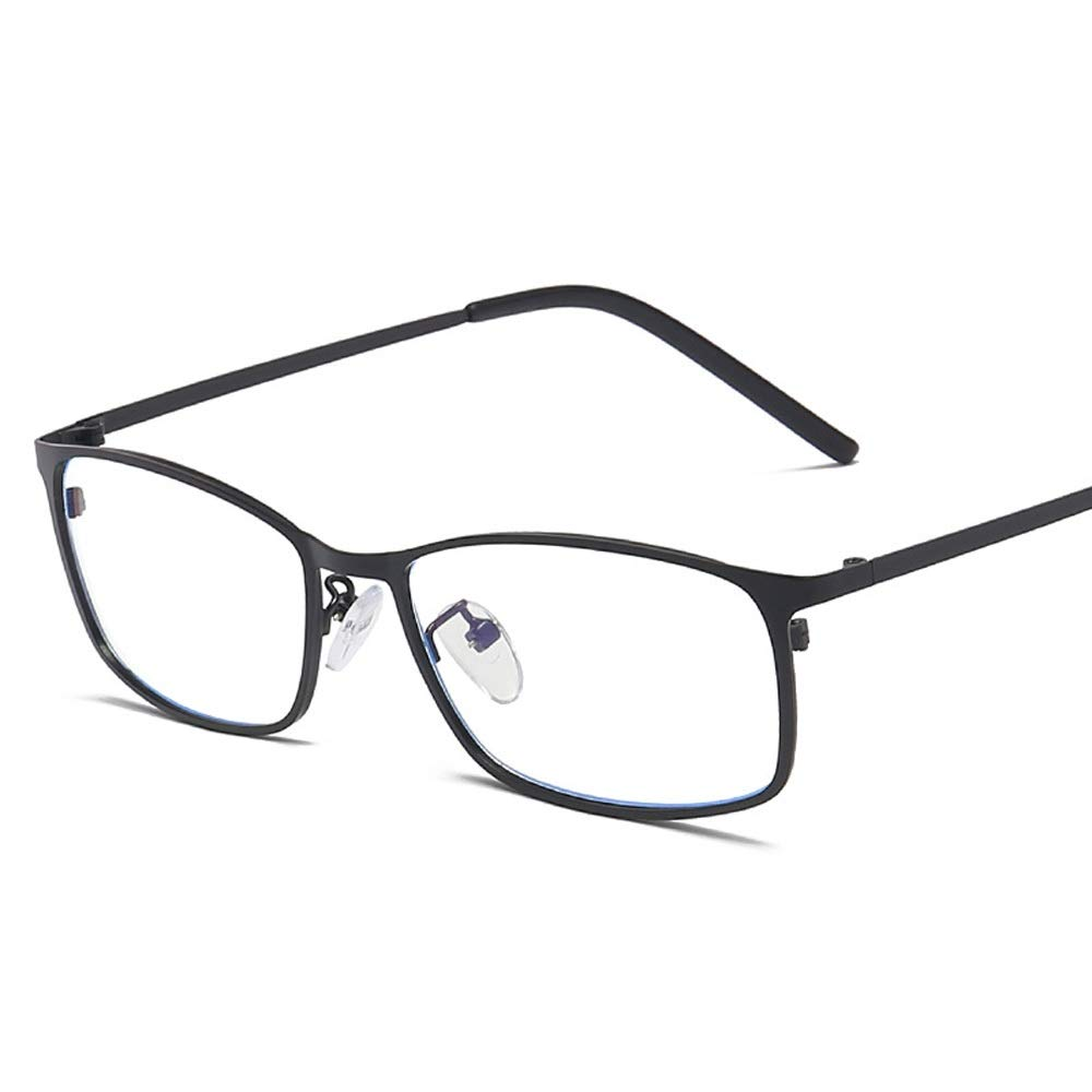 Glasses Men Business Lame Frame Metal Unornamented Fashion Anti Blue Computer Protection (Color : Black, Size : Free) by Glasses
