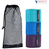 MAXFIT Athletica Hip Resistance Bands-Booty Circle Loops to Activate Leg & Butt- Premium Hip Exercise Bands-Set of 3 Elastic Fabric Non Slip Hip Workout Bands for Women & Men