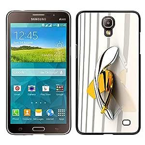 Boomerang Amarillo Oro Platino Bling- Metal de aluminio y de plástico duro Caja del teléfono - Negro - Samsung Galaxy Mega 2
