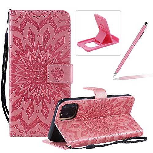 Wallet Case for iPhone 11 Pro Max,Strap Flip Case for iPhone 11 Pro Max,Herzzer Retro Elegant [Pink Mandala Flower Pattern] Stand Magnetic Leather Case with Soft TPU