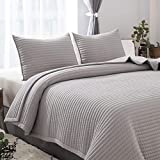 DAWNDIOR Lightweight Thin Quilted Comforter,Multipurpose for Quilt Bedspread Blanket with LuxuriousDown Alternative Filling,Super Soft Fabric and Neoclassical Solid Design with 2 Shams