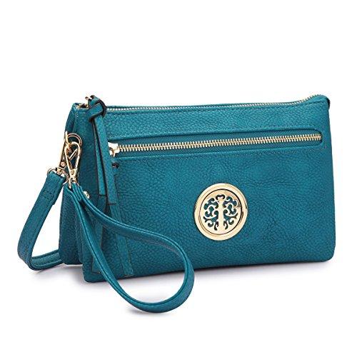 Blue Messenger Collection Bag~Fashion Handbag body MKP Gold 7217 Tone Cross Clutch qaCx4Tv7w