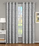 Blair Gray Top Grommet Jacquard Window Curtain Panel, Set of 2 Panels, 108×96 Inches Pair, by Royal Hotel Review