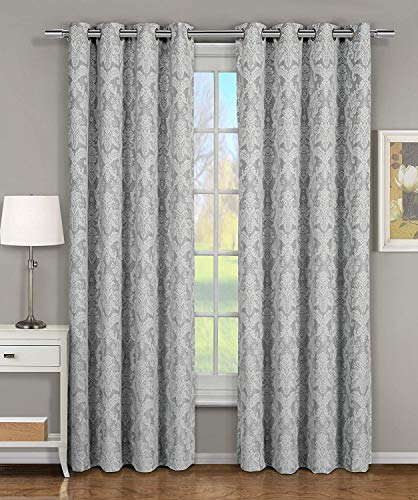 Blair Gray Top Grommet Jacquard Window Curtain Panel, Set of 2 Panels, 108x96 Inches Pair, by Royal Hotel