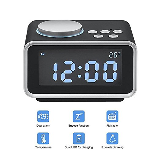 "Digital Radio Alarm Clock,3.2""LED Display FM Radio with Dual USB ChargingPorts,Snooze Aux in Music Speaker,Dimmer Battery Backup,Indoor Temperature and Outlet Powered for iPhone Phone Bedside Desktop"