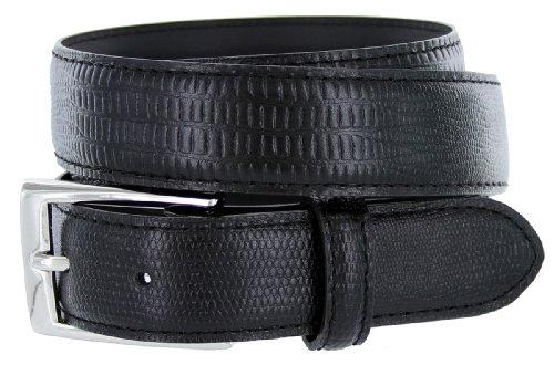- 6166 Solid Brass Buckle Lizard Embossed Men's Dress Belts 30mm (36, Black Lizard)
