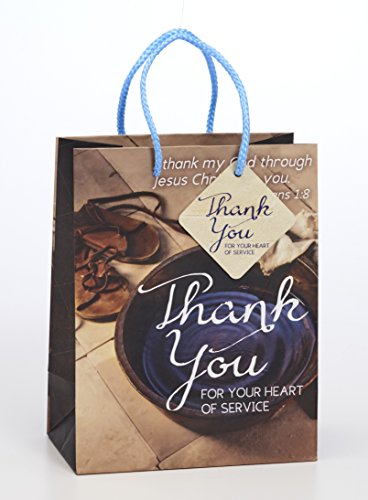 (Thank Your Heart Service 7 x 9 Inch Paper Gift Bag with Tag Pack of 4 )