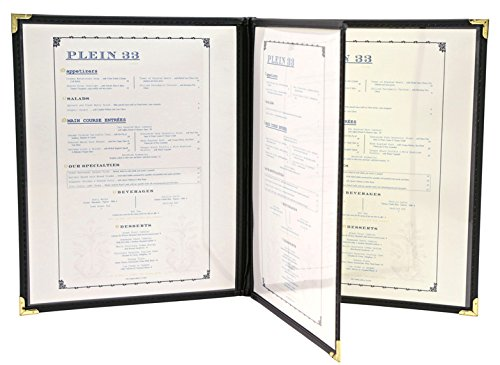 Menu covers, Flexible Leatherette 4 View - 8.5 X 14, Black