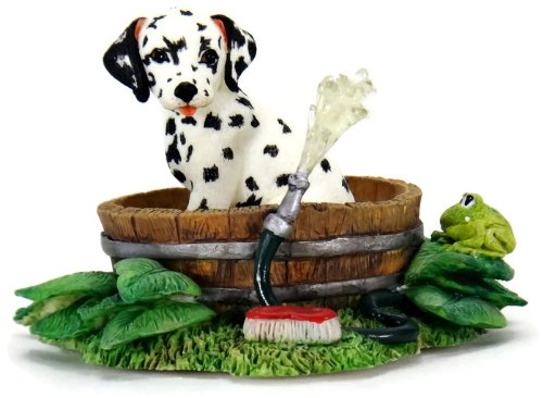 Figurine Dog Dalmatian (The Hamilton Collection Spot Takes A Bath Dalmatian Dog Figurine - 4.25