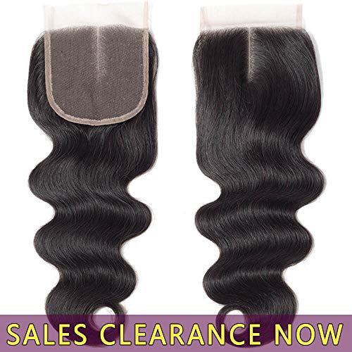 Wave Body European - 9A Brazilian Virgin Human Hair 4x4 Top Swiss Lace Closure Frontal Middle Part Best Peruvian Body Wave Natural Black Color Cheap Indian Malaysian Remy hair CanBe Bleached Knots One Piece 10 inch