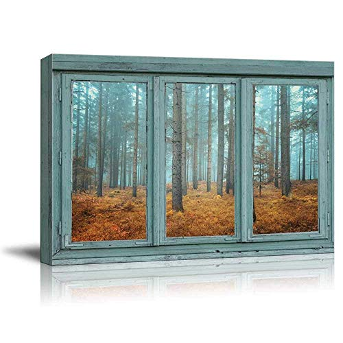 wall26 - Vintage Teal Window Looking Out Into a Blue Foggy Forest During Fall Time - Canvas Art Home Decor - 36x48 inches