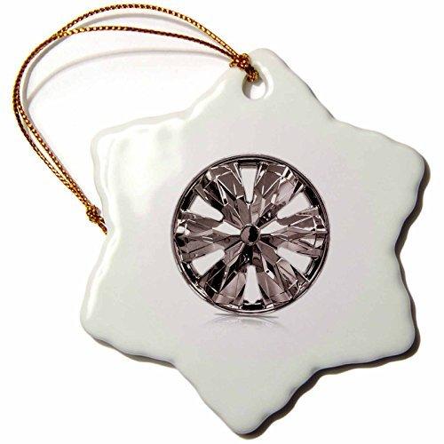 (Florene Decorative Photo of Chrome Hubcap Snowflake Porcelain)