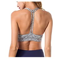 Queenie Ke Women's Light Support Cross Back Wirefree Pad Yoga Sports Bra Size M Color Light Grey Space Dye