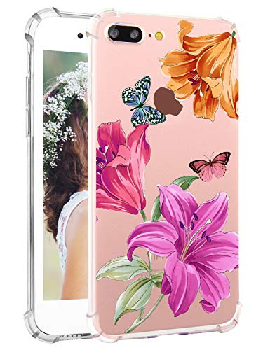 iPhone 8 Plus Floral Case iPhone 7 Plus Clear Case Hepix Lily Floral Print Purple Flowers Soft Clear TPU Flexible Protective Bumper Phone Cover Cases for iPhone 7 Plus, iPhone 8 Plus[5.5 inch]