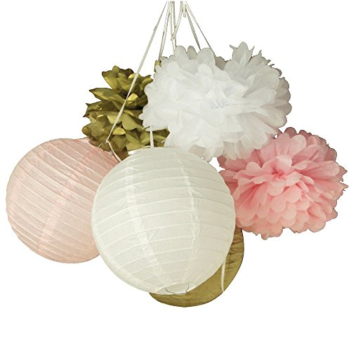 (SUNBEAUTY Pack of 6 20cm Gold Pink White Paper Crafts Tissue Paper Lanterns Paper Pom Poms for Valentines Birthday Wedding Party Decoration)