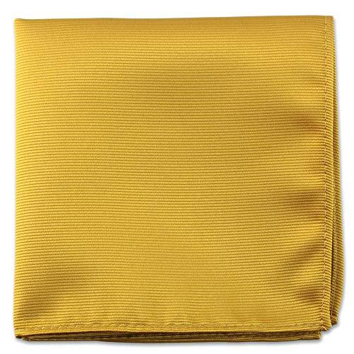 Gold Pocket Squares For Men - Mens Woven Pocket Square Tuxedo Wedding Solid Color Formal Handkerchiefs (Plain Pocket Square)