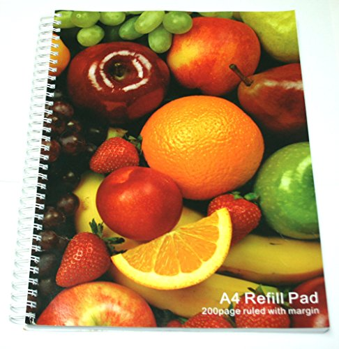 Sprial Note book writing pad A4 size mixed fruit design kG7p2FKSee