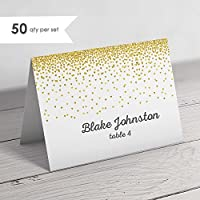 50 gold wedding place cards folded place cards gold escort cards wedding - Wedding Placement Cards