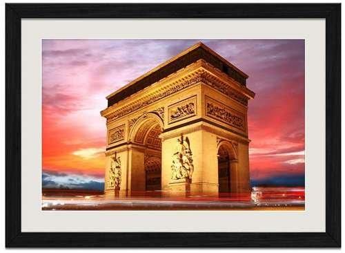 The Arc de Triomphe - Art Print Wall Black Wood Grain Framed (Arc De Triomphe Framed Art)