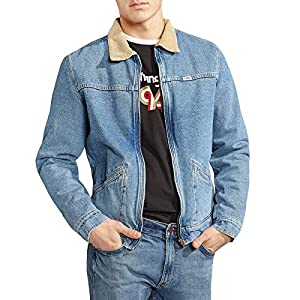 Wrangler Mens Hawkins Denim Fleece Lined Jacket – Blue