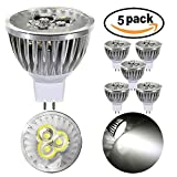 5×GreenSun DC 12V 3W MR16 Energy Saving Aluminum LED Spotlight Bulb 20W Incandescent Light Equivalent Cool white 6000-6500K