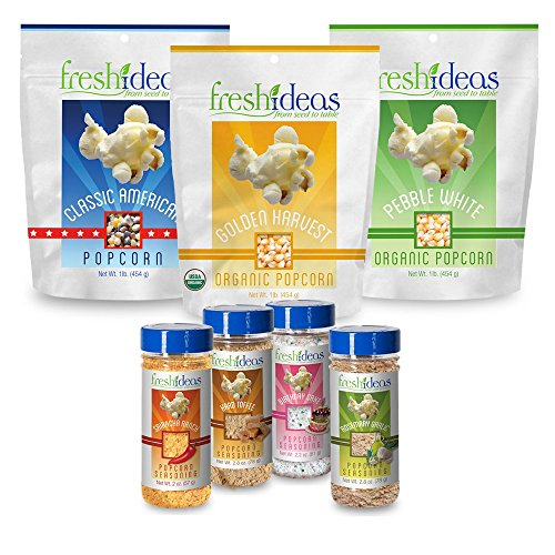 Fresh Ideas Family Pak-Pebble White, Classic American and Golden Harvest Kernels with Sriracha Ranch, Hard Toffee, Birthday Cake and Garlic Rosemary Seasonings by Fresh Ideas