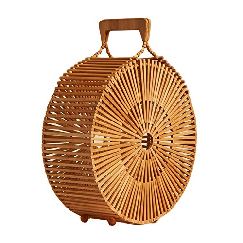 Cheerfulus Round Woven Bamboo Bag Beach Bag Handmade Bamboo Summer For Women, Double Handle - Big Big