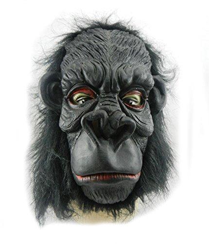 Scary Halloween Costume Masks Horrific Orangutan Animal Cosplay Head Mask for Adults Natural Environmental Latex Fancy Theme Party Dress Props Accessories (Smile Orangutan)