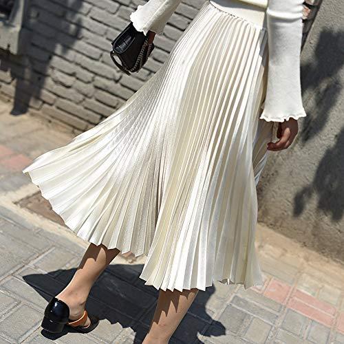 De Cintura Faldas Falda Mujer Metálico Única Bola Color Plisadas Para Talla Qzbtu Larga Alta ZpSqUU