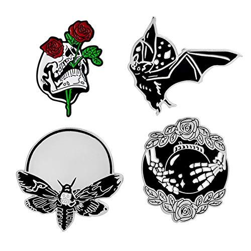 (WINZIK Lapel Pins 4Pcs Punk Style Rose Skull Skeleton Bat Brooch Badges For Women Men Children Clothing Backpacks Decor (Set 2#))