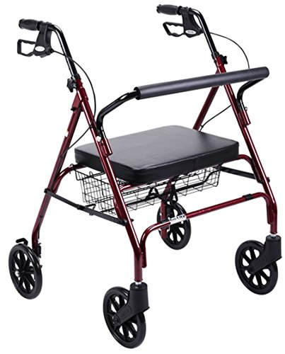 Red Frame Foldable Bariatric Heavy Duty Rollator Walker W/ Large Padded Seat. Supports Up To 500 Lbs. Rolling Walker For Big People Indoor Outdoor Use. Four Wheel Walker Built With Durable Steel Reinforced Frame. Get It Today For You Or A Loved One! (Bariatric Rollator)
