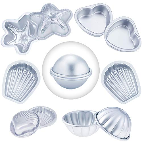 Caydo 6 Set 6 Style DIY Metal Bath Bomb Mold with Shell Shape, Hemispheres, Heart Shape, Starfish Shape, Scallop Shape, Flower Shape for Crafting Your Own Fizzles (Each Including 2 Pieces)