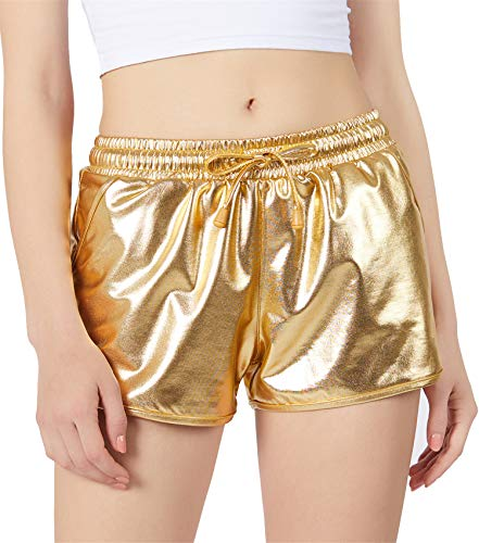 (POSHDIVAH Gold Metallic Shorts for Women Hot Sparkly Shiny Shorts with Elastic Drawstring)