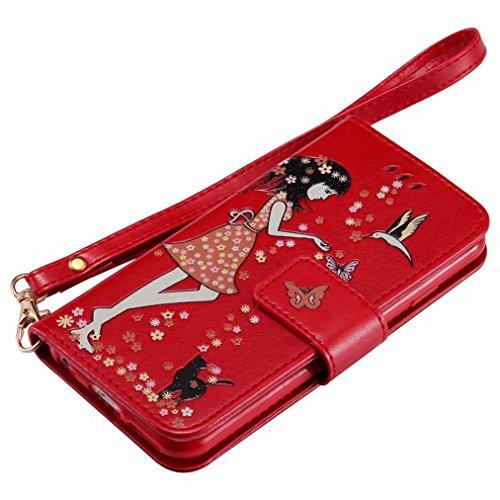 Yiizy handyhülle Apple IPhone 6 Plus / IPhone 6s Plus hülle, Leuchtendes Katze Frau Tasche Leder Schutzhülle PU Ledertasche Bumper Schutz Flip Cover Case Magnet Beutel Klappe Silikon Gummi huelle Scha