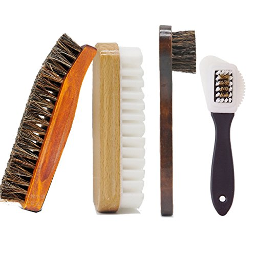 Horsehair Shoe Brush Set Multifunctional Shoe Cleaning and Shine Brush Kit for Leather Shoes, Suede and Nubuck Shoes, Car Seat or Leather Furniture