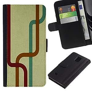 UNIQCASE - Samsung Galaxy Note 4 SM-N910 - Abstract Lines - Cuero PU Delgado caso cubierta Shell Armor Funda Case Cover