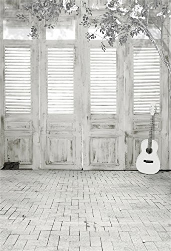 AOFOTO 5x7ft Whitewashed Shutter Door Backdrop Grunge Vintage Interior Photography Background Guitar Music Grey Brick Floor Birthday Party Decor Kid Adult Portrait Photo Shoot Studio Props (White Guitar Portrait)